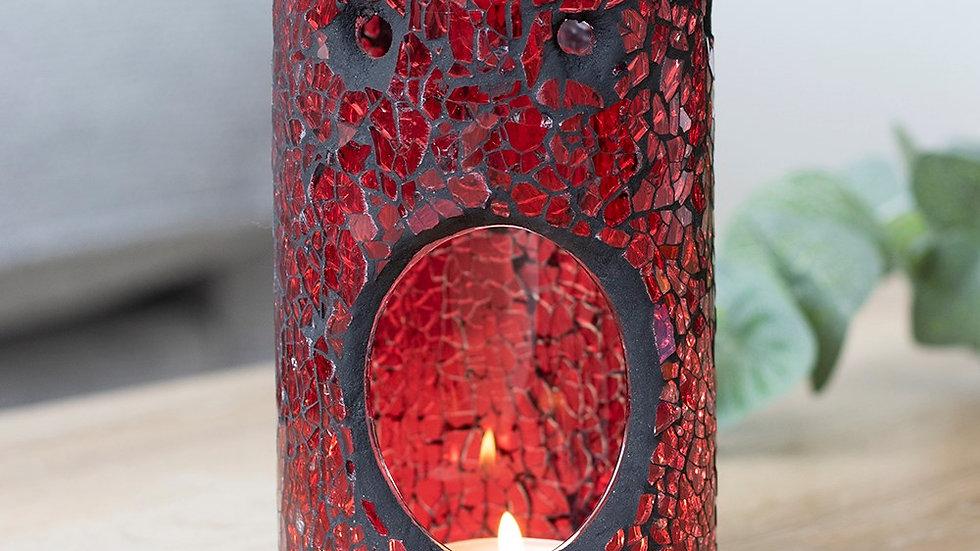 Red Crackle Pillar Oil Burner