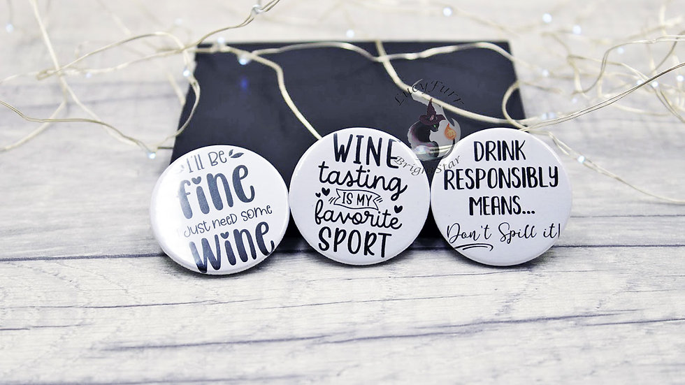 Funny Wine Button Badge Set