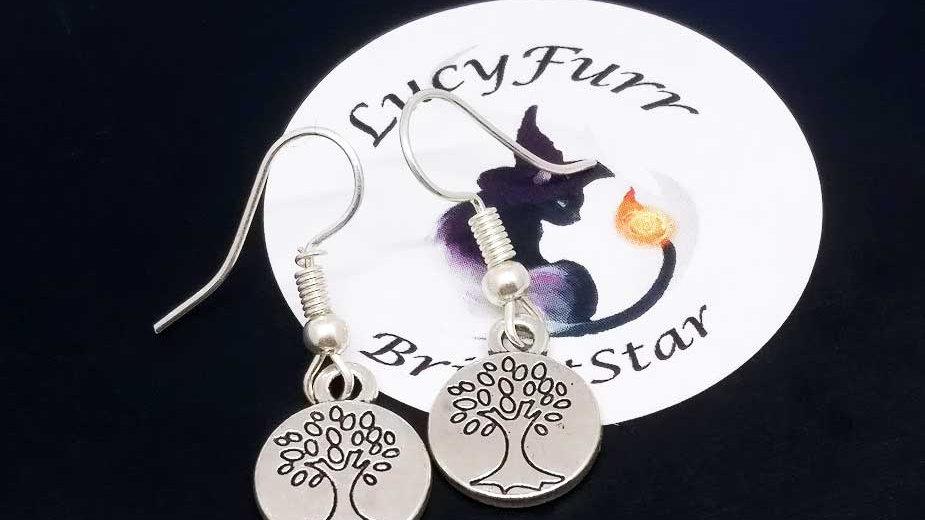 Tree Tibetan Silver Earrings
