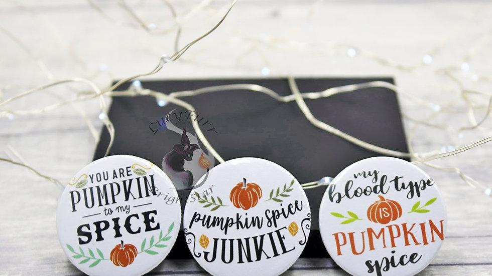 Pumpkin Spice Button Badge Set