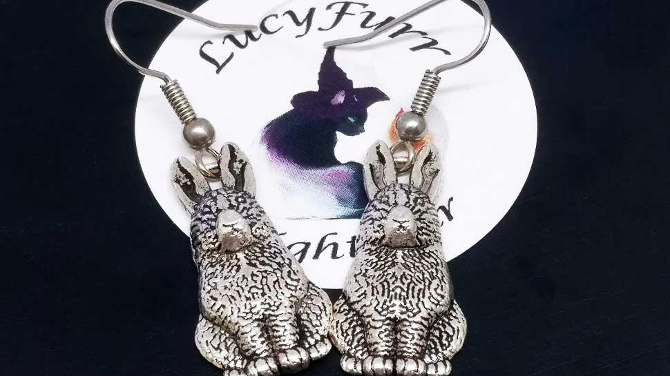 Hare Tibetan Silver Earrings