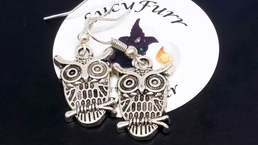 Owl Tibetan Silver Earrings
