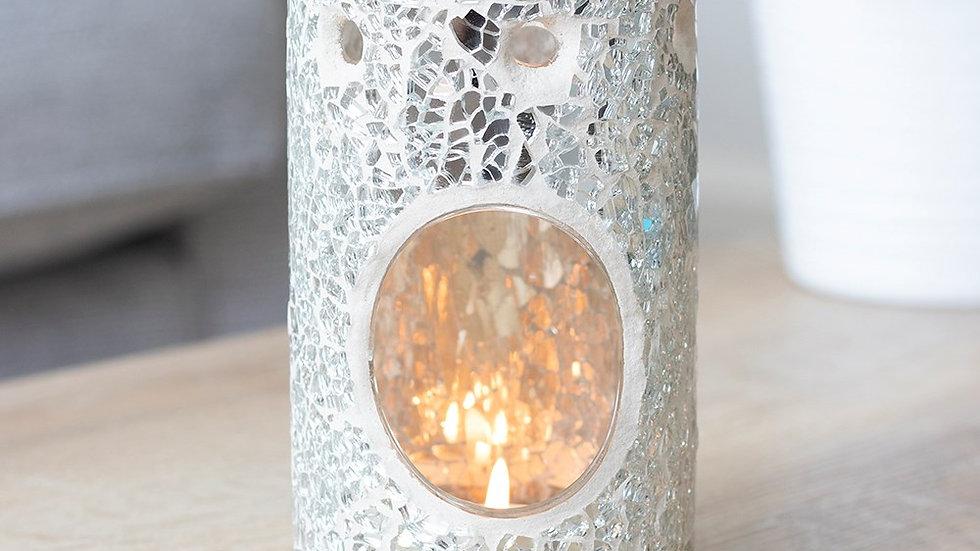 Silver Crackle Pillar Oil Burner