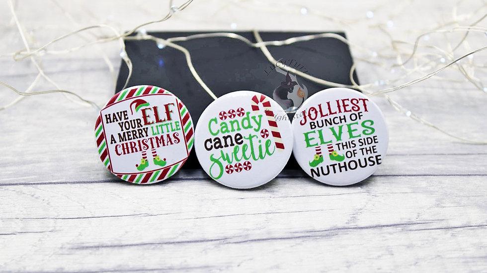 Funny Christmas Button Badge Set