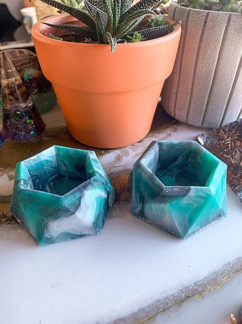 Teal Marble Flowerpot