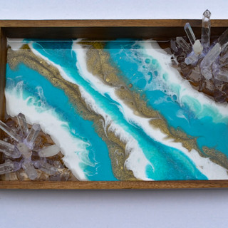 Teal Geode Tray