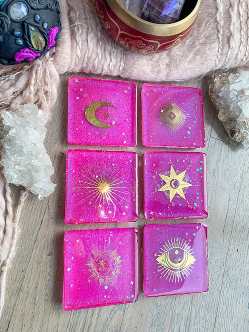 Pink Celestial Coasters