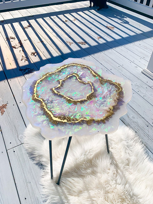 Opal table with white legs