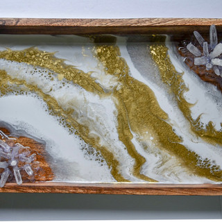 White & Gold Geode Tray
