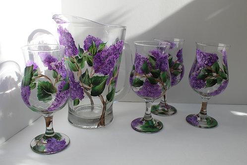 """ELDERBERRIES"" set of 4 glasses and water pitcher"