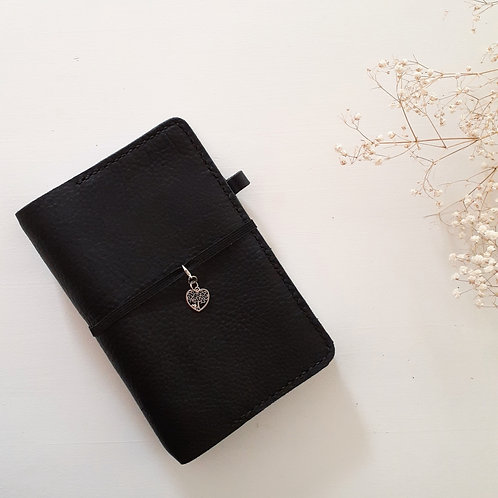 Black Heart Leather Handcrafted Journal Cover