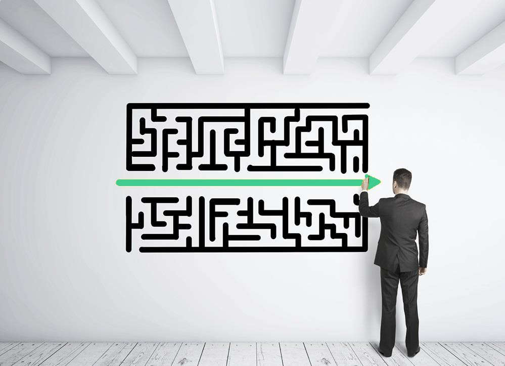 Avoid the maze. Find the solution.