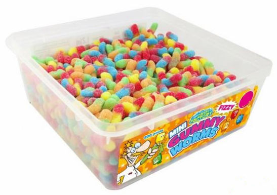 Crazy Candy Factory Mini Fizzy Gummy Worms Tub