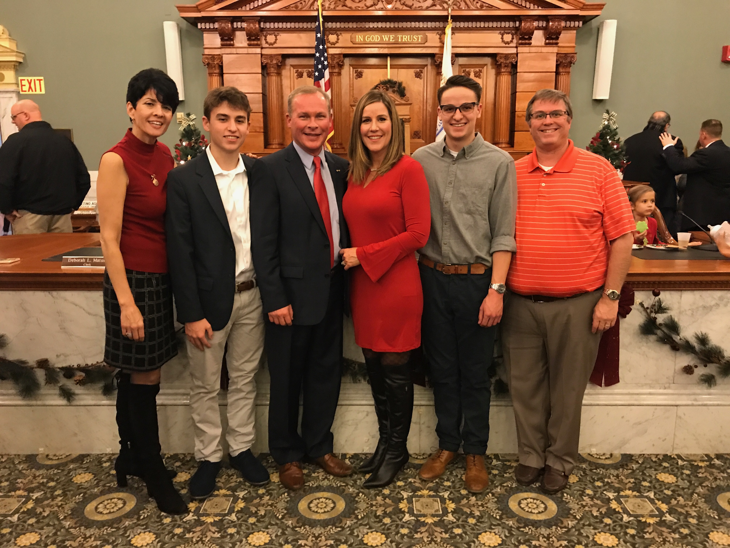 Kevin and family with Hank and Karen swearing in 2018