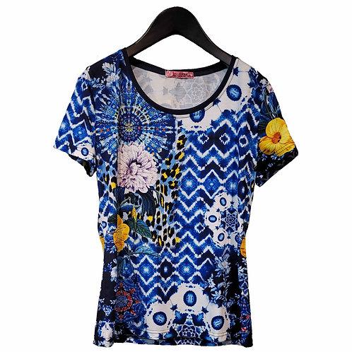 101 IDEES エスニックブルーTシャツ