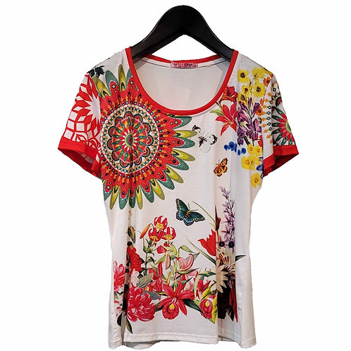 101 IDEES 赤の花・幸運Tシャツ