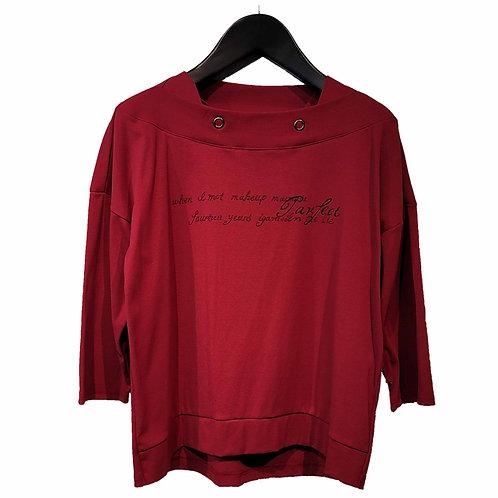 コットン・デザインTシャツ レッド