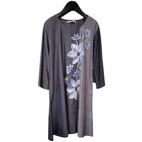 インド綿・ブルーグレーフラワー刺繍ワンピース