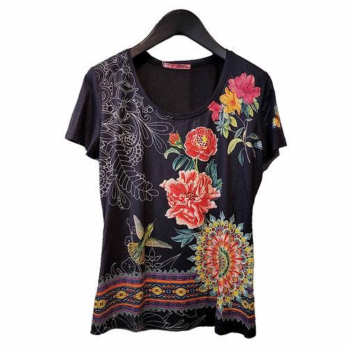 101 IDEES ブラックベースフラワーTシャツ
