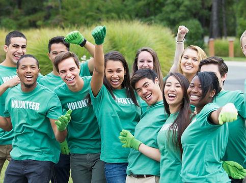 Volunteer team celebrating