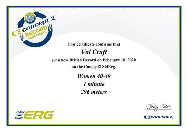 1 min Ski Erg British Record Feb 2020 29