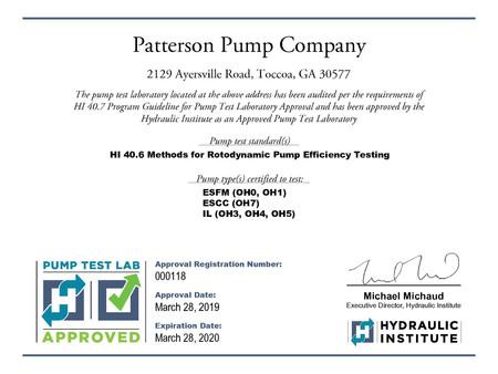 Patterson Pumps - DOE Approved