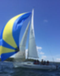 Adult sailing with LWSA on Lake Winnipesaukee