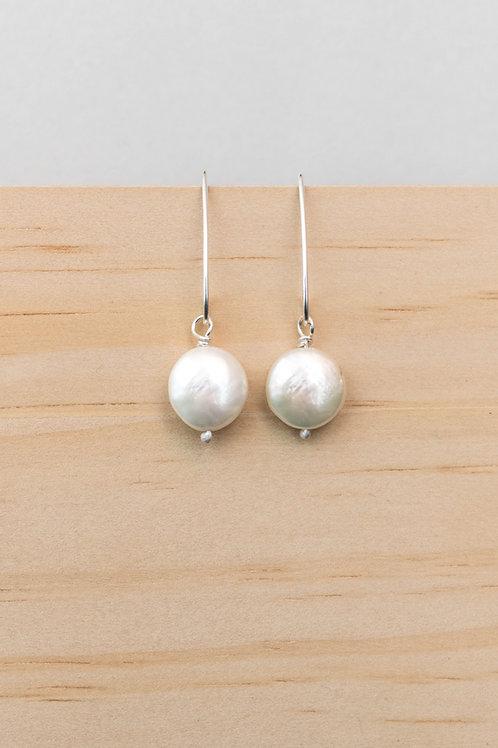 Button Pearl Earrings | Sterling Silver