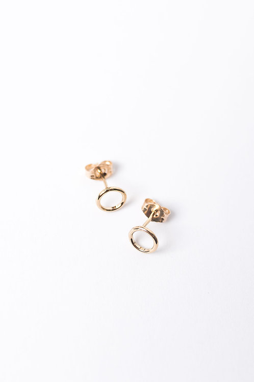 Tiny Circle Stud Earrings | Gold Filled