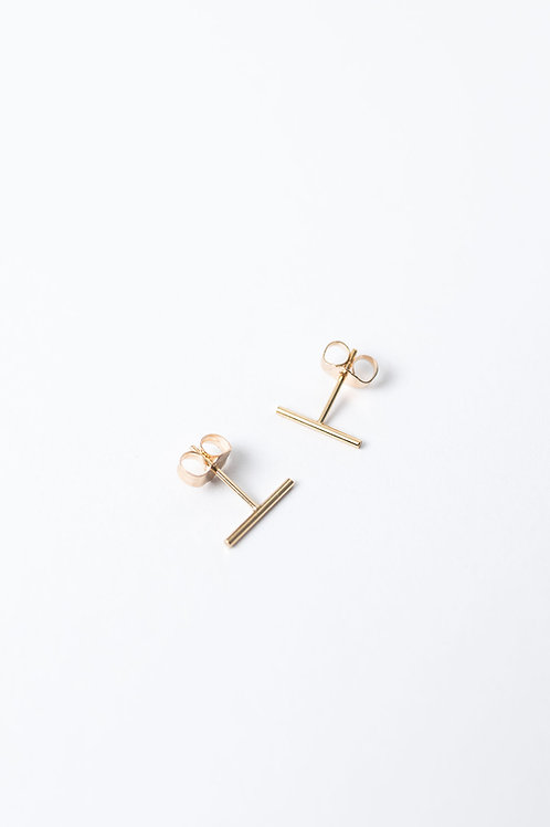 Tiny Bar Stud Earrings | Gold Filled