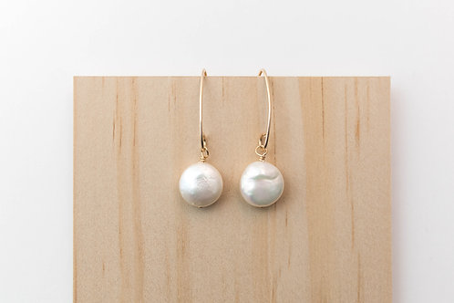 Button Pearl Earrings | Gold Filled