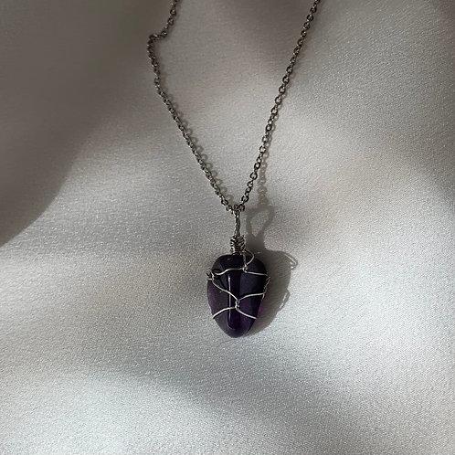 Amethyst necklace silver
