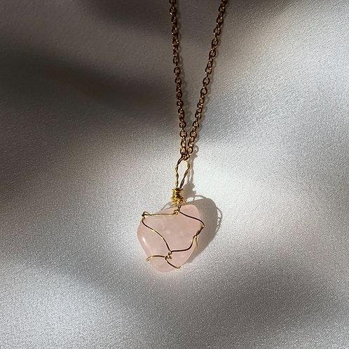 Rosequartz necklace gold