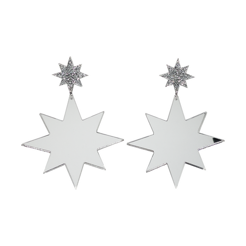 Holiday Star Earrings - Silver Mirror