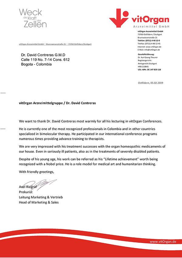 Carta VitOrgan Reconocimiento Dr Contrer