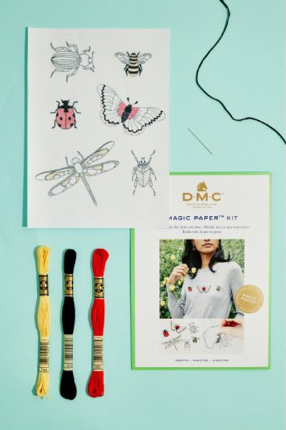 """Magic Paper (feuille soluble) DMC - kit """"Insectes"""""""