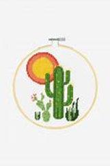 """Kit Point de Croix DMC - """"Cactus"""" avec cerceau"""