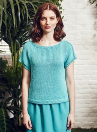 pull manches courtes turquoise