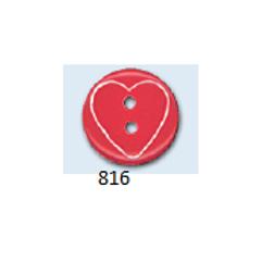 Bouton enfant rond avec cœur inséré - 15 mm