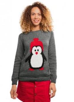pull jacquard pingouin dame