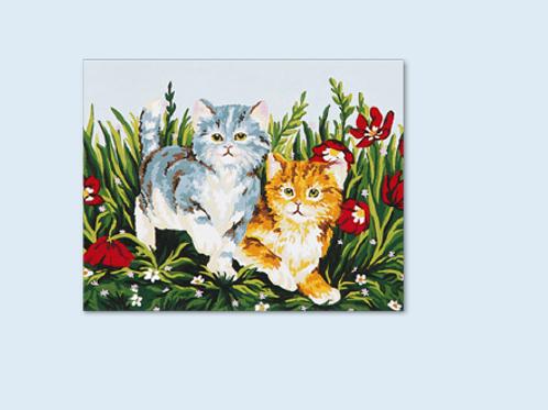 """Kit de tapisserie """"Chatons dans les Fleurs"""""""