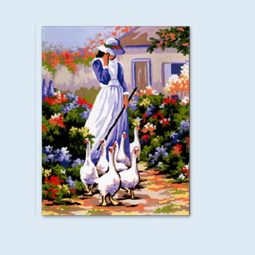 """Kit de tapisserie """"La Gardienne d'Oies"""""""