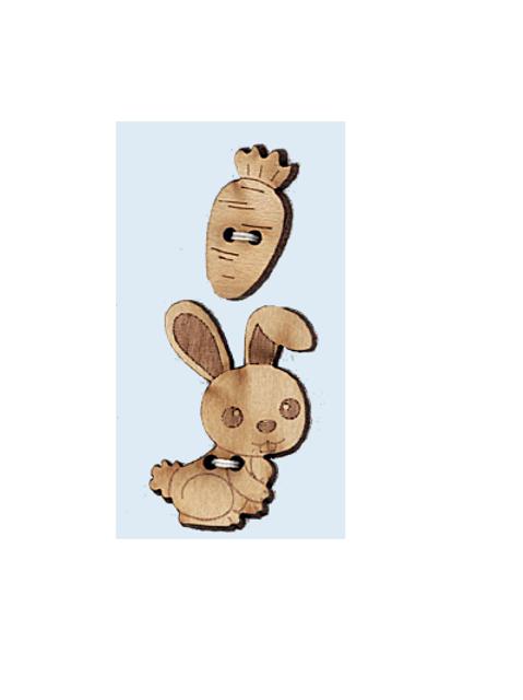 """Boutons animaux en bois """"Lapin et carotte"""""""