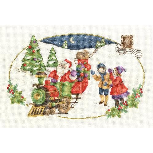"""Kit de broderie vintage """"Père-Noël arrive"""""""