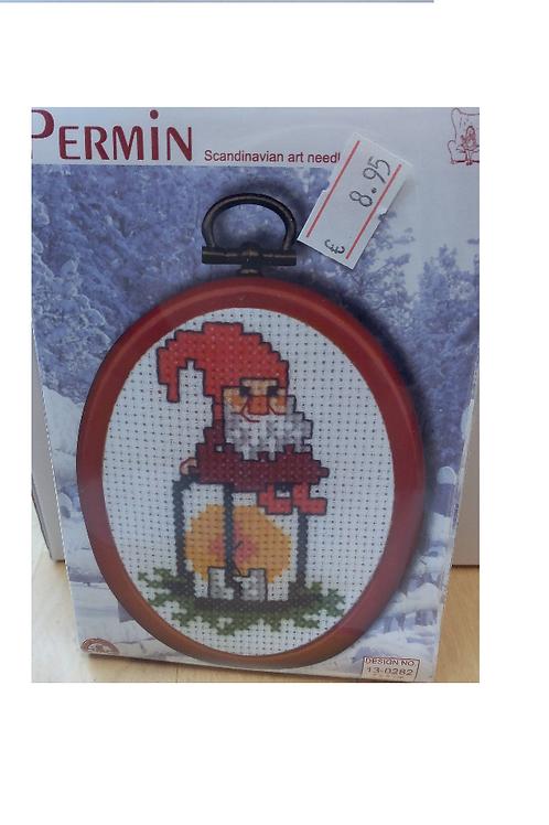 """Mini cadre rouge """"Lanterne avec Lutin"""""""