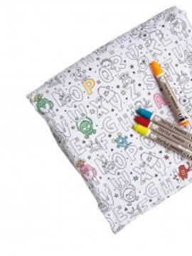 """Coupon de tissu à colorier """"petits monstres"""""""