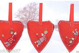 Set de 3 petits coeurs de Noël