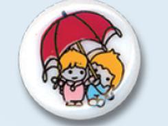 """Bouton enfant """"bambins sous la pluie"""""""