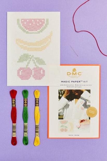 "Magic Paper (feuille soluble) DMC - kit ""Fruits"""