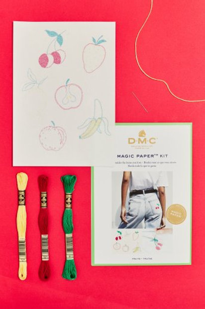 "Magic Paper (feuille soluble) DMC - kit ""Fruits"""